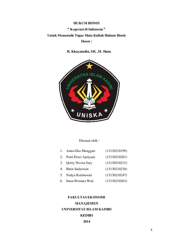 Hukum Bisnis Materi Hukum Koperasi di Indonesia | nadya ...