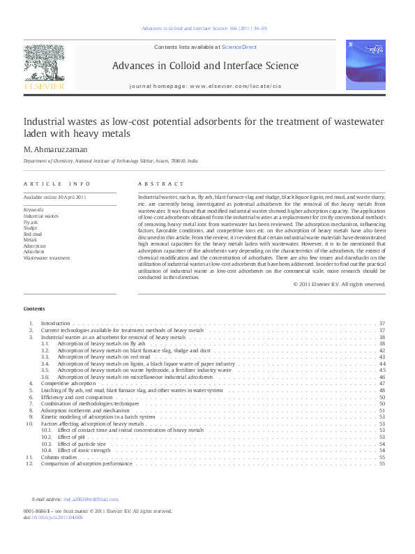 PDF) Industrial wastes as low-cost potential adsorbents for