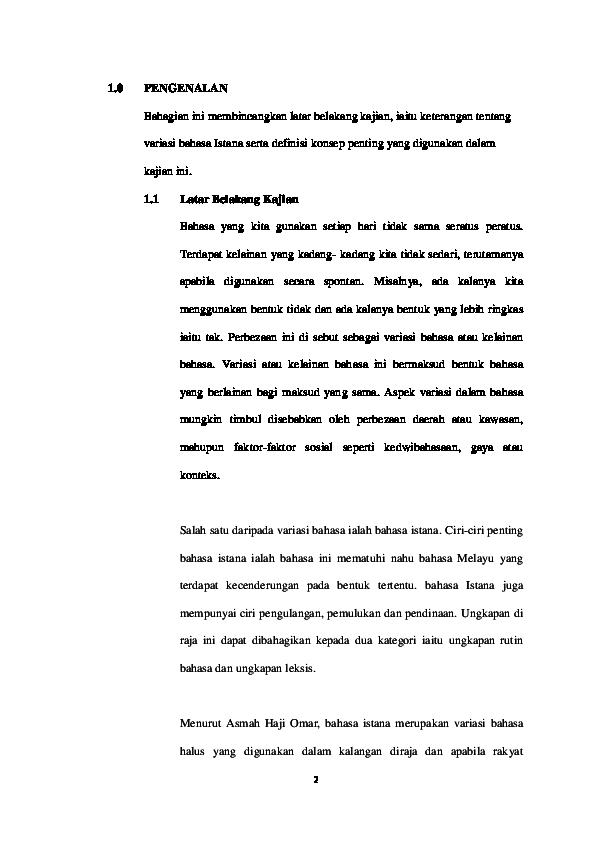 Doc Kajian Tentang Bahasa Istana Atikah Ali Academia Edu