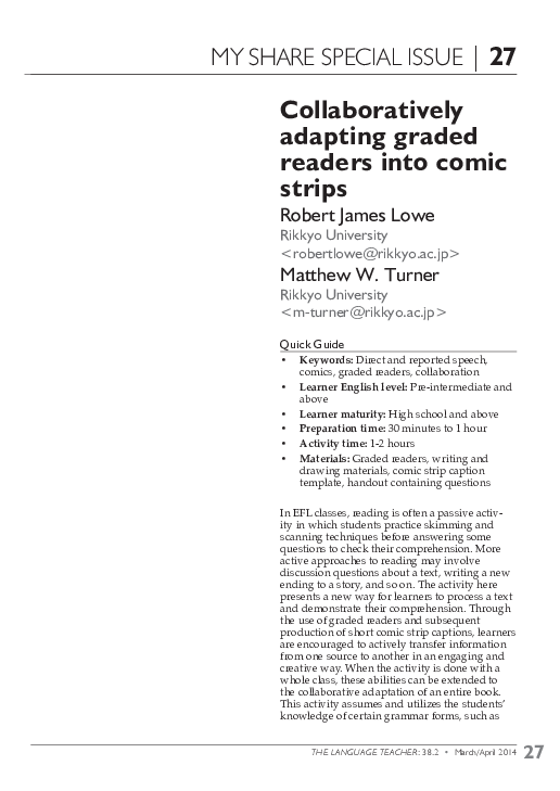 PDF) Collectively Adapting Graded Readers into Comic Strips | Robert