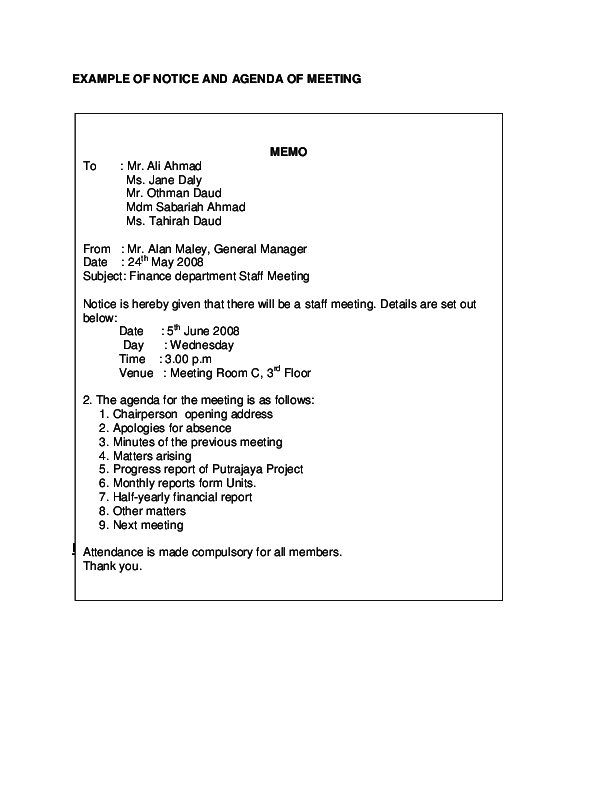 DOC) example of meeting agenda and notice (memo) | Mimi Nasir