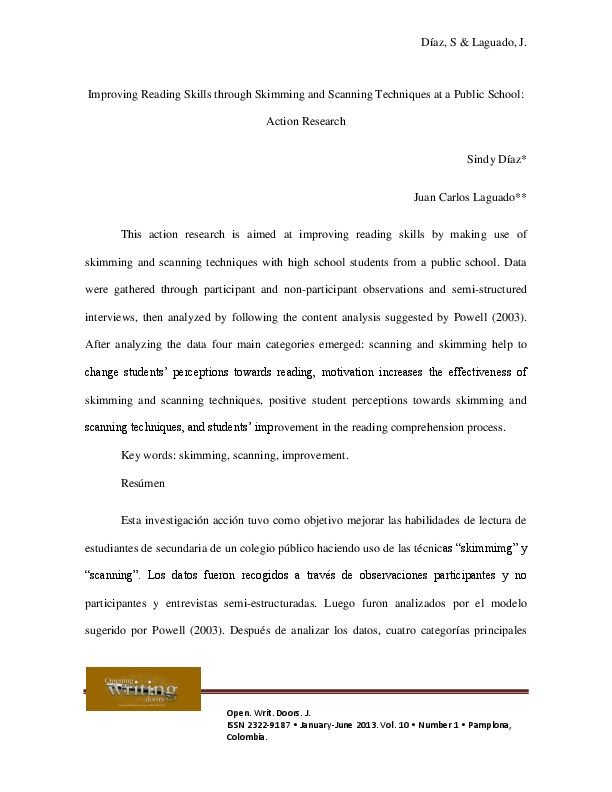 (PDF) Improving Reading Skills through Skimming and