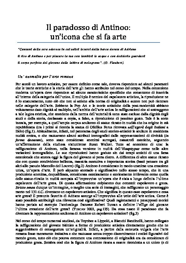 PDF) Il paradosso di Antinoo | Mariateresa Curcio - Academia edu