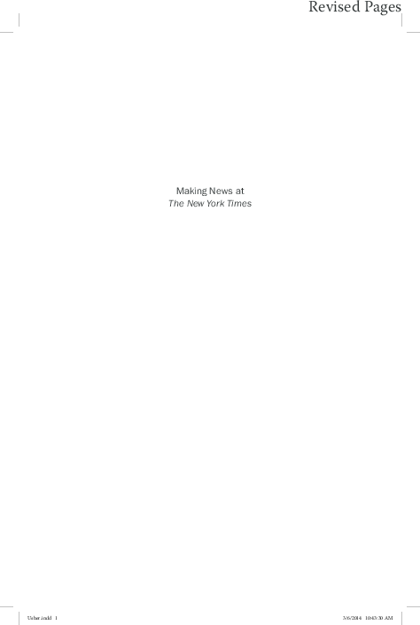 PDF) Making News at The New York Times: Full Text of Book | Nikki