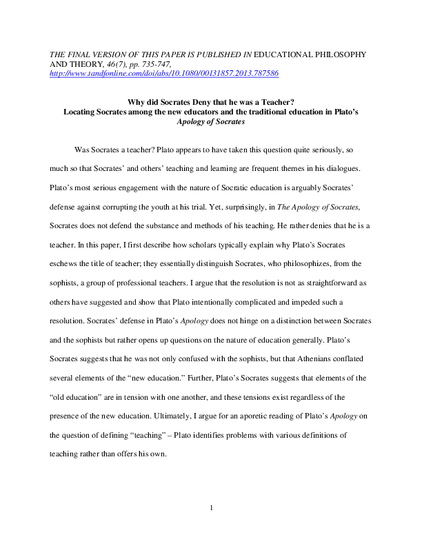Essay Knowledge Pdf Joan Didion On Going Home Essay also Benjamin Franklin Essays Why Did Socrates Deny That He Was A Teacher Locating Socrates Among  Essay My Role Model