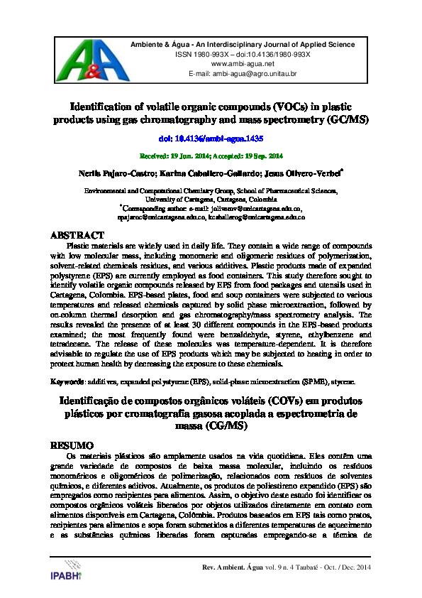 PDF) Identification of volatile organic compounds (VOCs) in