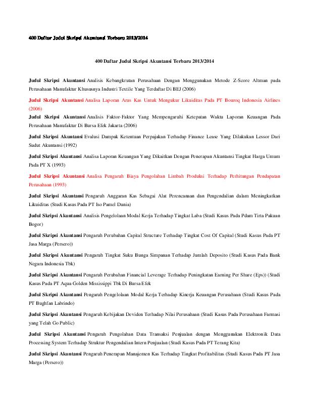 Doc 400 Daftar Judul Skripsi Akuntansi Terbaru 2013 2014 Dwi