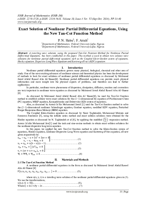 PDF) Exact Solution of Nonlinear Partial Differential Equations