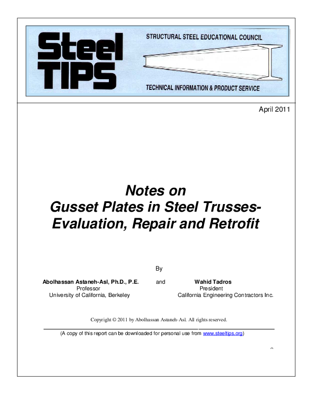 PDF) Notes on Gusset Plates in Steel Trusses- Evaluation