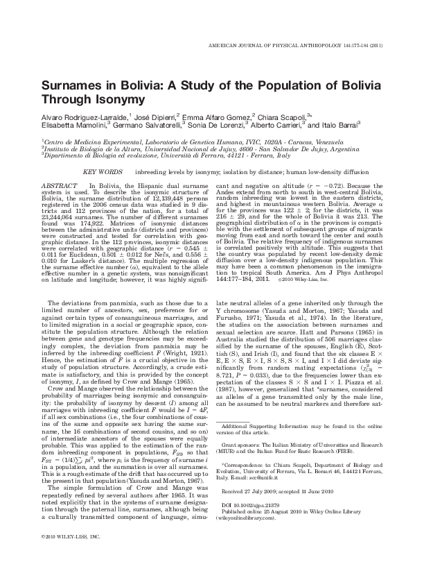 PDF) Surnames in Bolivia: A Study of the Population of Bolivia