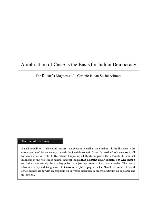 Annihilation Of Caste Pdf