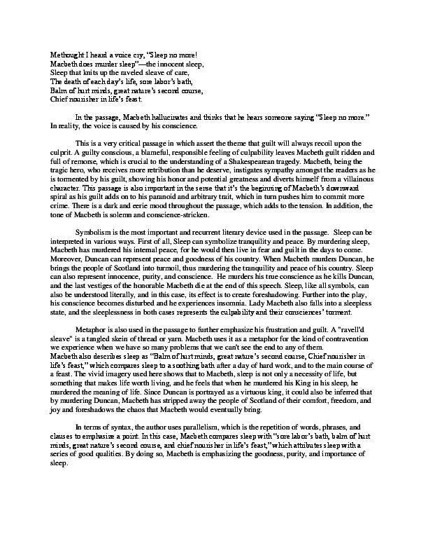importance of sleep in macbeth essay