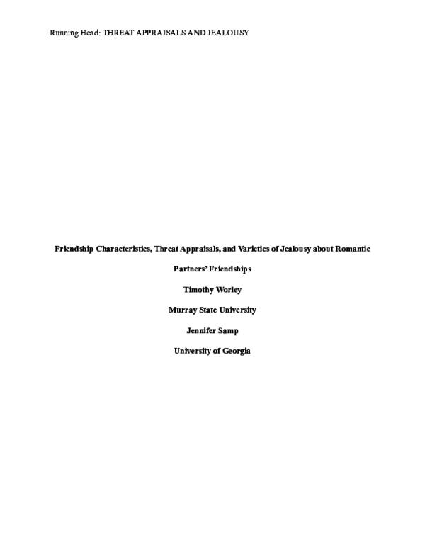PDF) Worley, T  R , & Samp, J  A  (2014)  Friendship characteristics