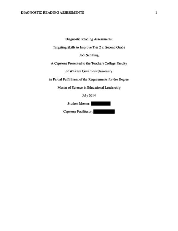 PDF) DIAGNOSTIC READING ASSESSMENTS 1 Diagnostic Reading