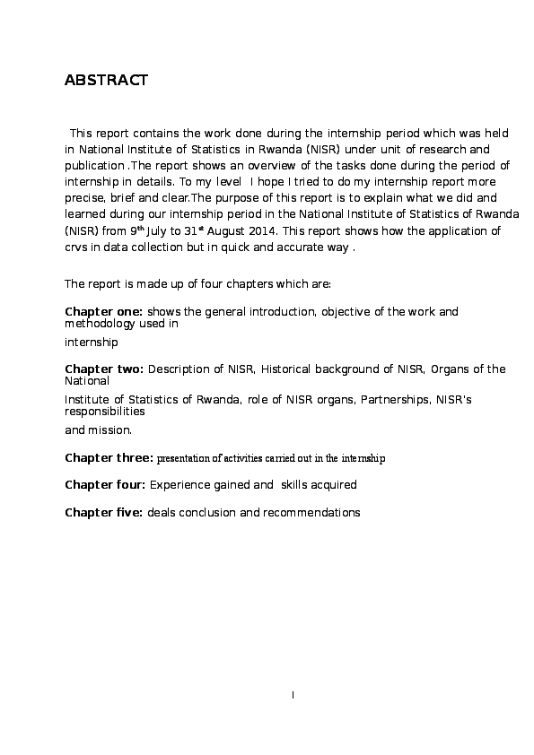 DOC) INTERNSHIP REPORT CARRIED OUT IN NATIONAL INSTITUTE OF