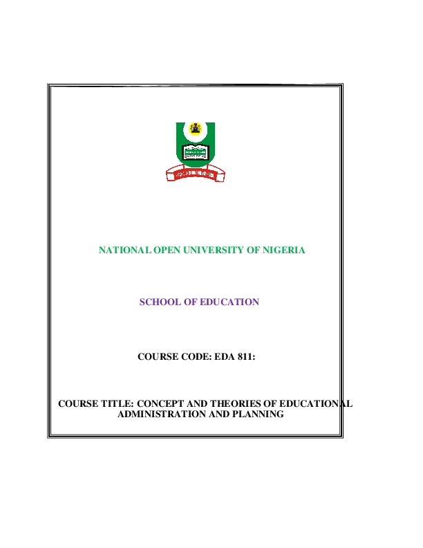 (PDF) NATIONAL OPEN UNIVERSITY OF NIGERIA SCHOOL OF