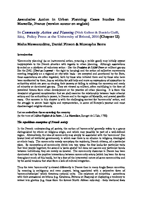PDF) Associative Action in Urban Planning: Cases Studies