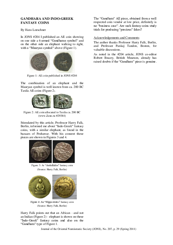 PDF) Gandhara and Indo-Greek fantasy coins | Hans Loeschner