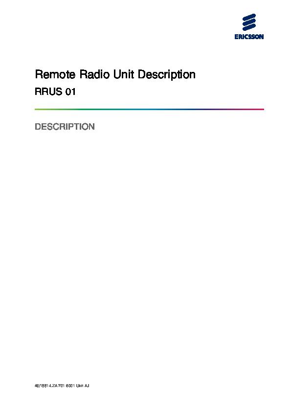 PDF) Remote Radio Unit Description RRUS 01 | allen pangan - Academia edu