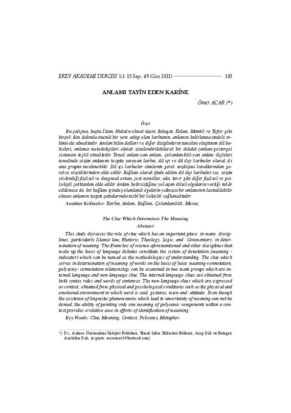 PDF) Anlamı Tayin Eden Karine | Ömer Acar - Academia.edu