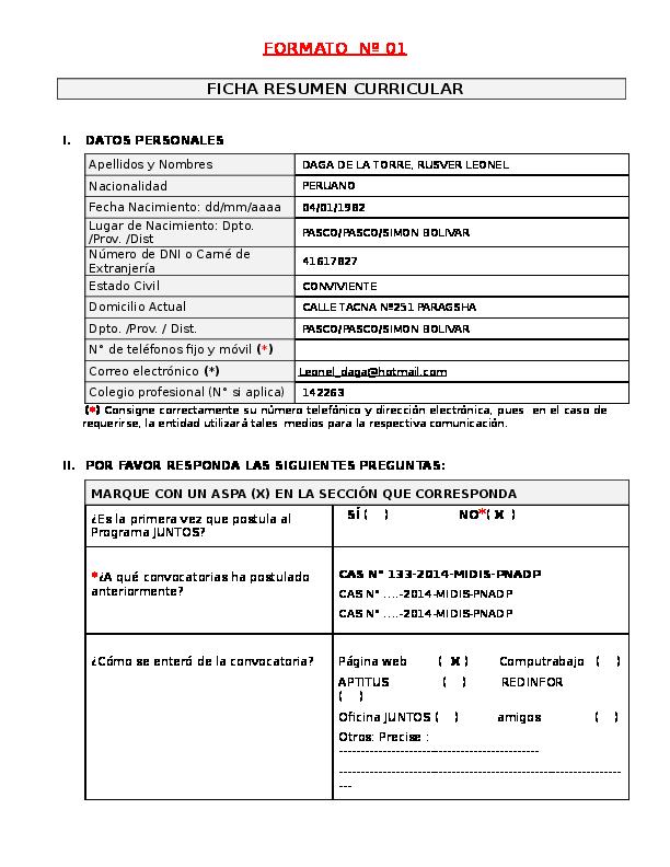 doc  formato n u00ba 01 ficha resumen curricular i  datos