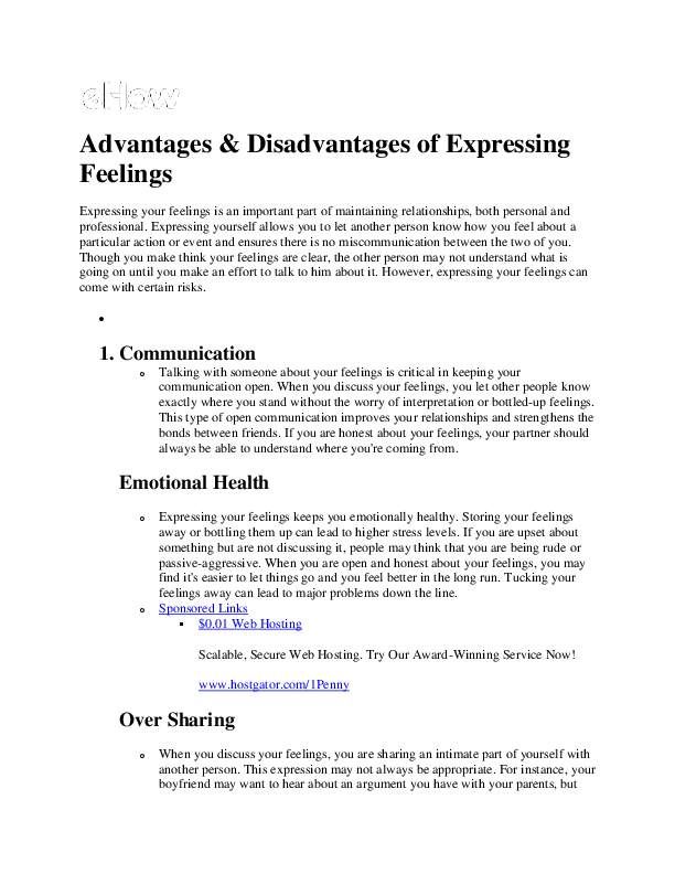 DOC) Advantages & Disadvantages of Expressing Feelings