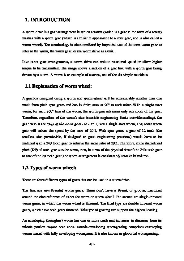 DOC) worm wheel | sanjeev kumar - Academia edu
