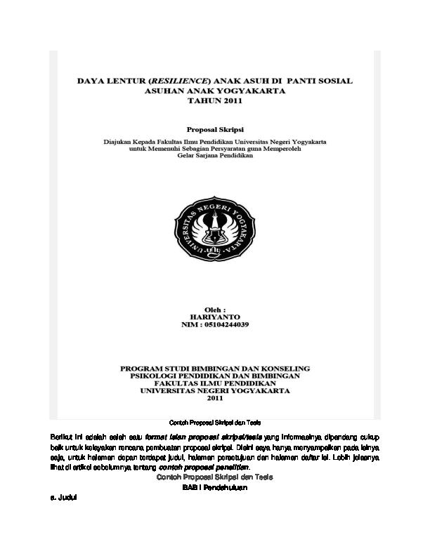 Doc Contoh Proposal Skripsi Dan Tesis Widho Pratomo Academia Edu