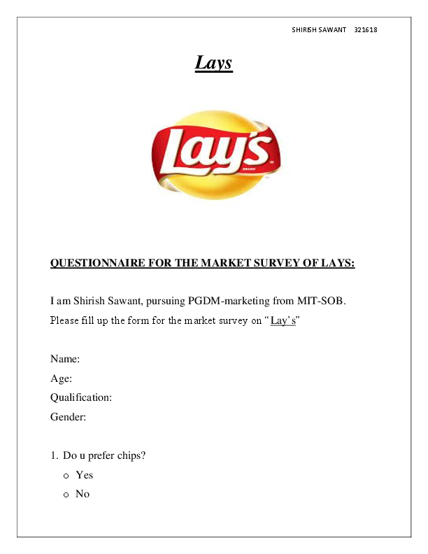 DOC) Lays QUESTIONNAIRE FOR THE MARKET SURVEY OF LAYS