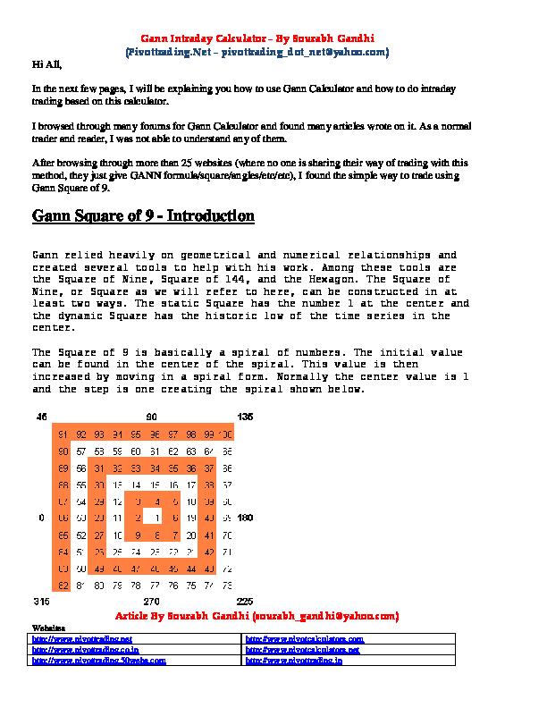 PDF) Gann Intraday Calculator | Bill jo - Academia edu