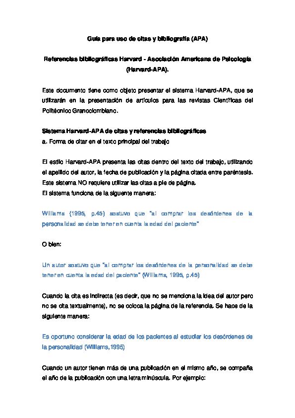 Pdf Guía Para Uso De Citas Y Bibliografía Apa Marcelo