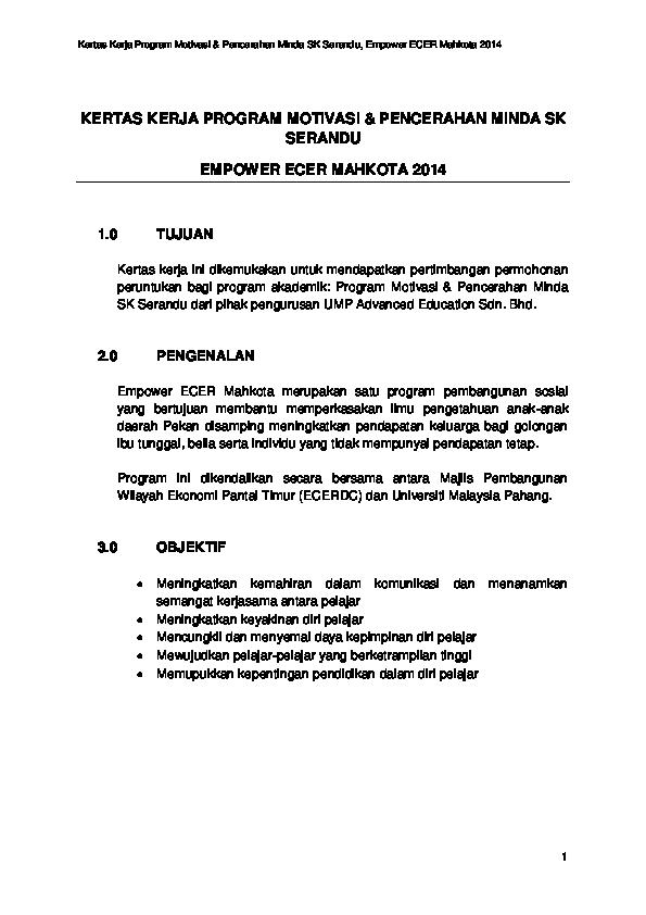 Doc Kertas Kerja Program Motivasi Pencerahan Minda Sk Serandu Empower Ecer Mahkota 2014 Asraf Nordin Academia Edu