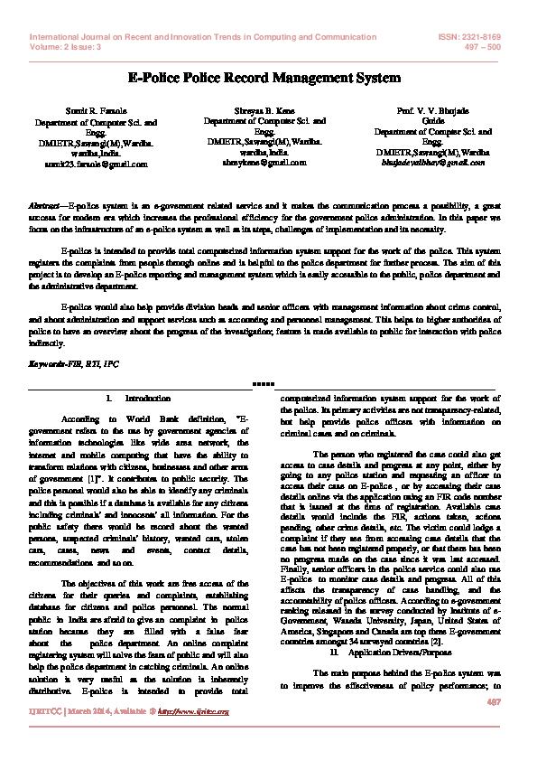 PDF) E-Police Police Record Management System | International