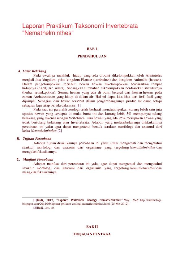 laporan taksonomi hewan nemathelminthes