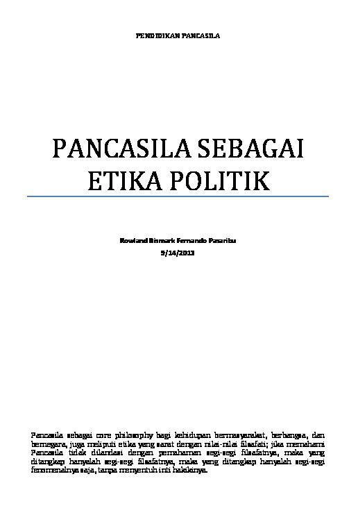 soal essay pancasila sebagai etika politik