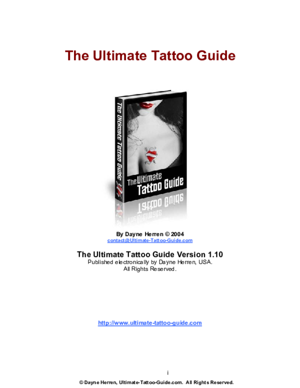 Pdf Dayne Herren Ultimate Tattoo Guide Com All Rights Reserved The Ultimate Tattoo Guide Contact Ultimate Tattoo Guide Com Jeiker Rivero Academia Edu