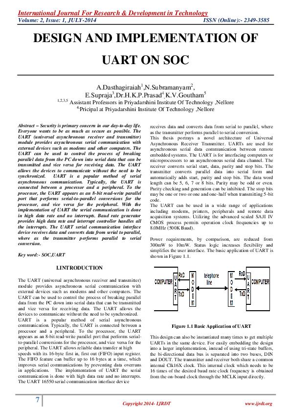 PDF) DESIGN AND IMPLEMENTATION OF UART ON SOC | Ijrdt Journal
