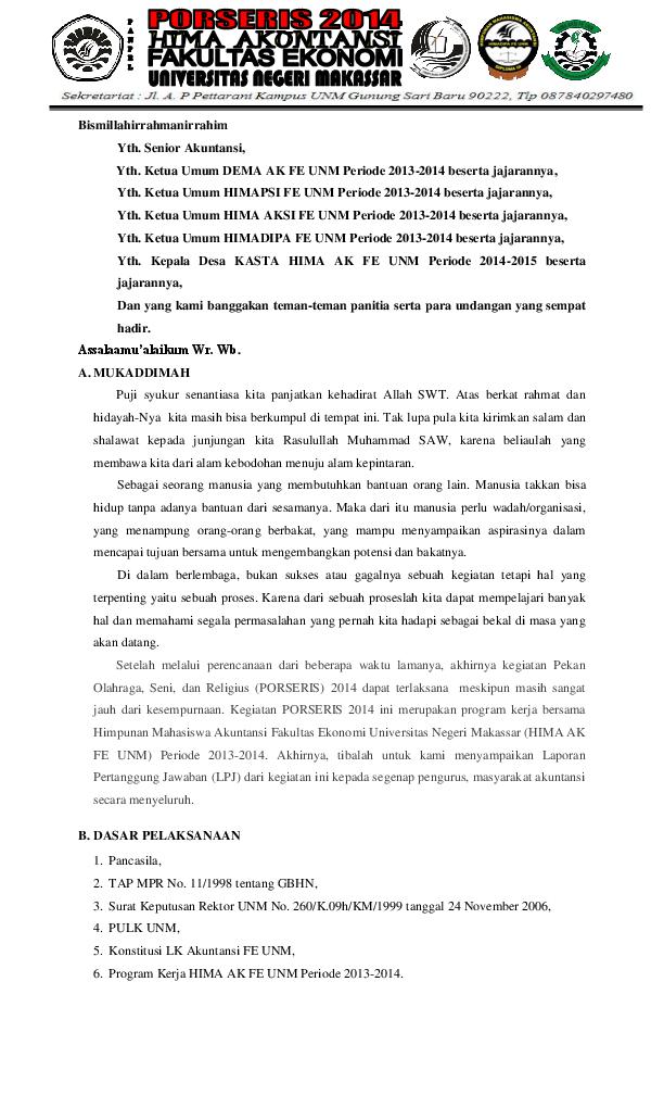 Doc Contoh Laporan Pertanggung Jawaban Hmj Himpunan Adi Onlyone Academia Edu