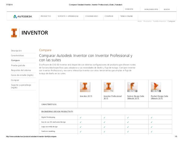 PDF) 7/7/2014 Comparar Autodesk Inventor, Inventor Professional y