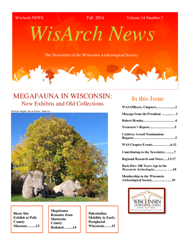 Midvale Heights Bison Celebrate >> Pdf Wisconsin Archeological Society Research Award Wasra Report