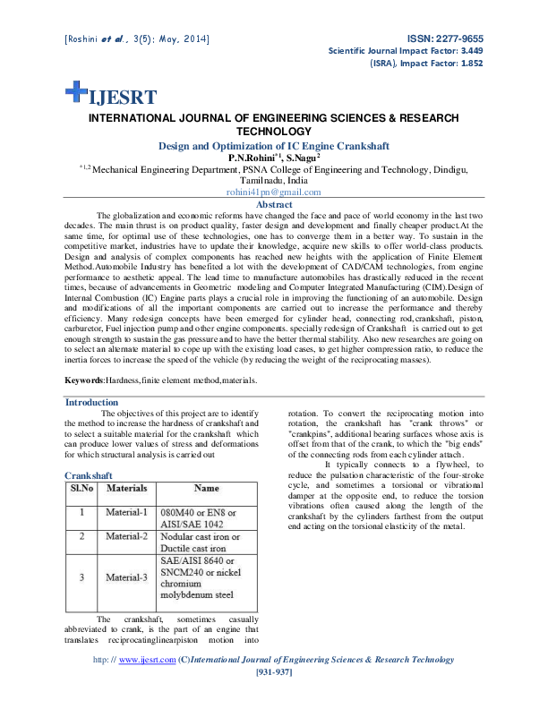 International Journal Of Engineering Sciences Research Technology Design And Optimization Of Ic Engine Crankshaft Prem Kumar Er Academia Edu