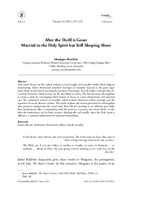 PDF) After the Thrill is Gone: Married to the Holy Spirit but Still