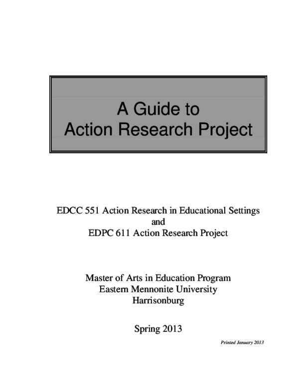 action research plan in apa PDF) A Guide to Action Research Project  Aldie Arias - Academia.edu