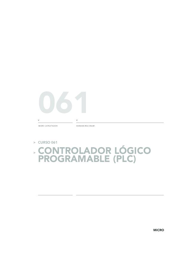 CURSO 061 > CONTROLADOR LÓGICO PROGRAMABLE (PLC) 061 MICRO CAPACITACION