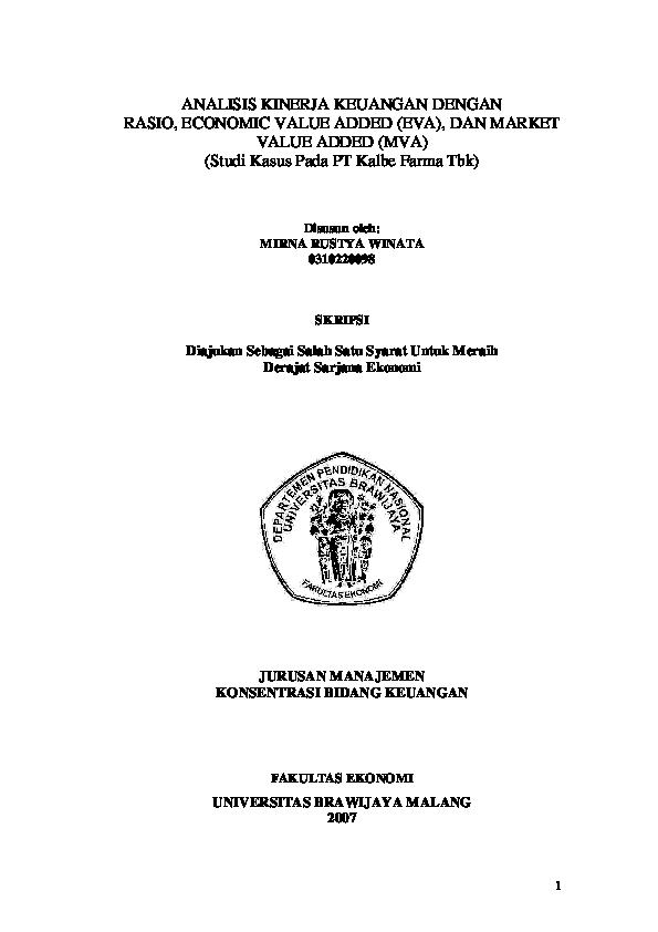 Pdf Analisis Kinerja Keuangan Dengan Rasio Economic Value Added Eva Dan Market Value Added Mva Azizah Azura Academia Edu