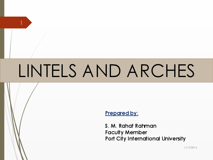 PPT) Lintel and Arches (Details of Construction) | S  M