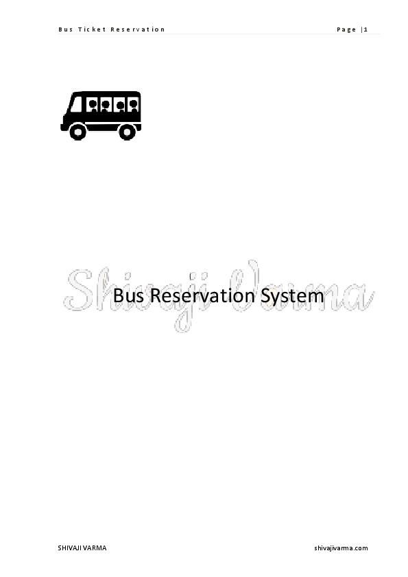 Pdf Bus Ticket Reservation Naveen Surya Academia Edu