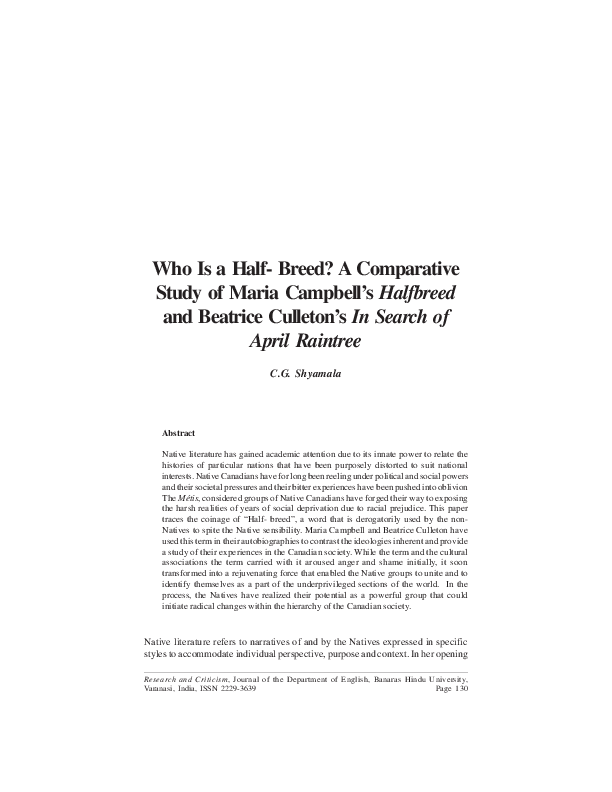 Pdf Who Is A Half Breed A Comparative Study Of Maria Campbell S Halfbreed And Beatrice Culleton S In Search Of April Raintree C G Shyamala Department Of English Banaras Hindu University Academia Edu