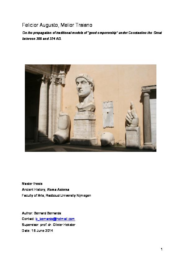 PDF) Felicior Augusto, Melior Traiano  On the propagation of