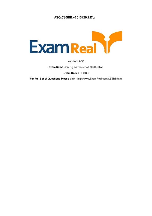 Exam Name Six Sigma Black Belt Certification Exam Code Cssbb For